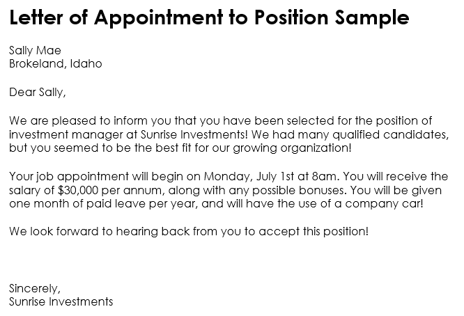 10 Samples of Appointment Letter Format in PDF and Word