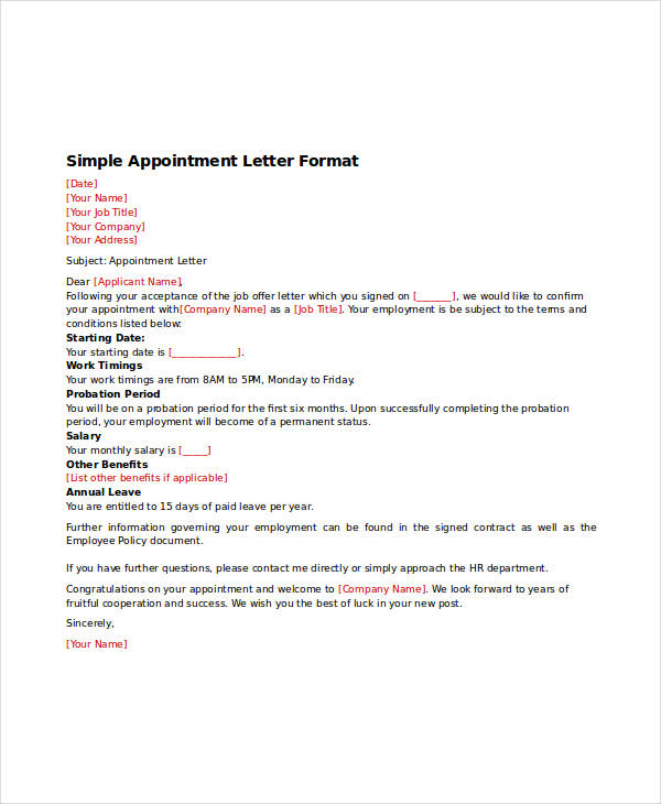 Appointment Letter Template 31+ Free Word, PDF Documents