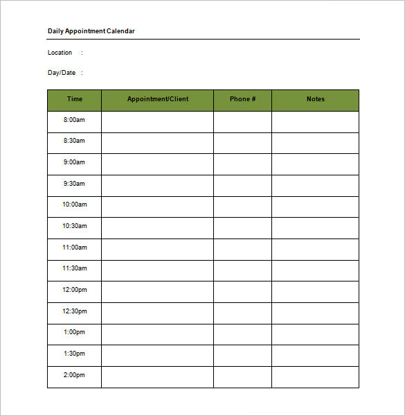 Appointment Schedule Templates 18+ Free Word, Excel, PDF Format