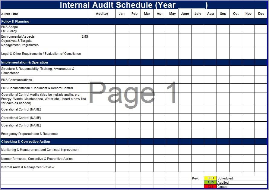 8 Free Sample Audit Schedule Templates Printable Samples