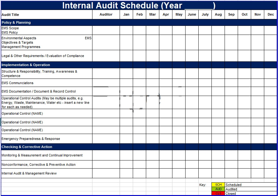Audit Schedule Template 6 Free Templates Schedule Templates
