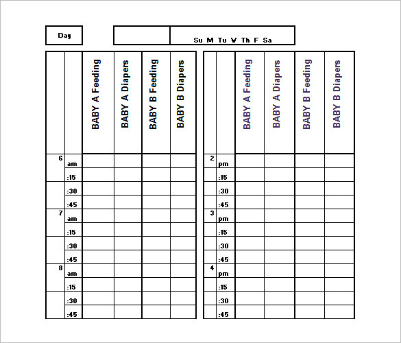 Baby Schedule Templates – 9+ Free Word, Excel, PDF Format Download