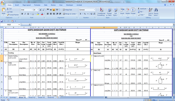 Bar Bending Schedule Calculation | Excel Sheet For Bar Bending