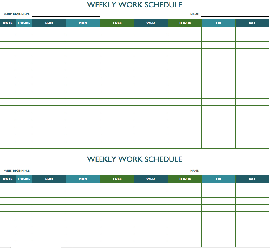 Bi Weekly Schedule Template - printable schedule template