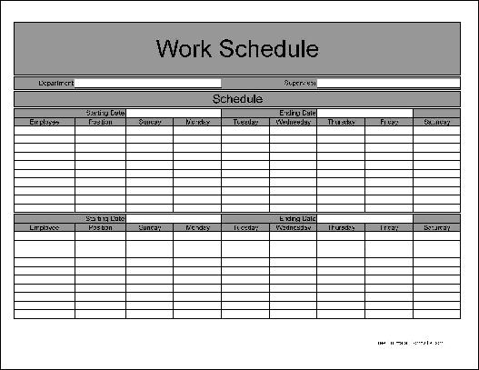 Free Basic Biweekly Work Schedule from Formville