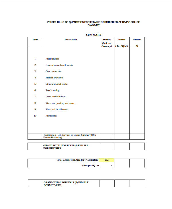 Bill Of Quantities Template