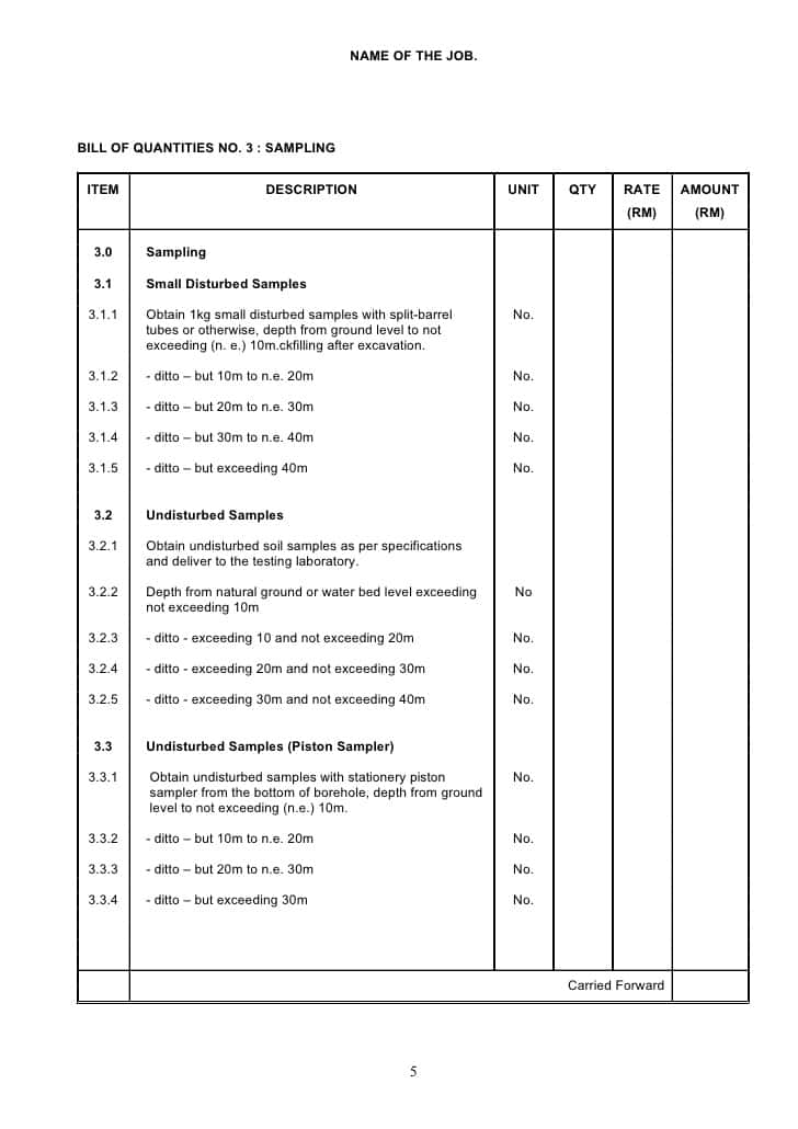 Bill Of Quantities Template Ireland And Rics Bill Of Quantities