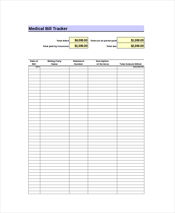 Excel Bill Template Free