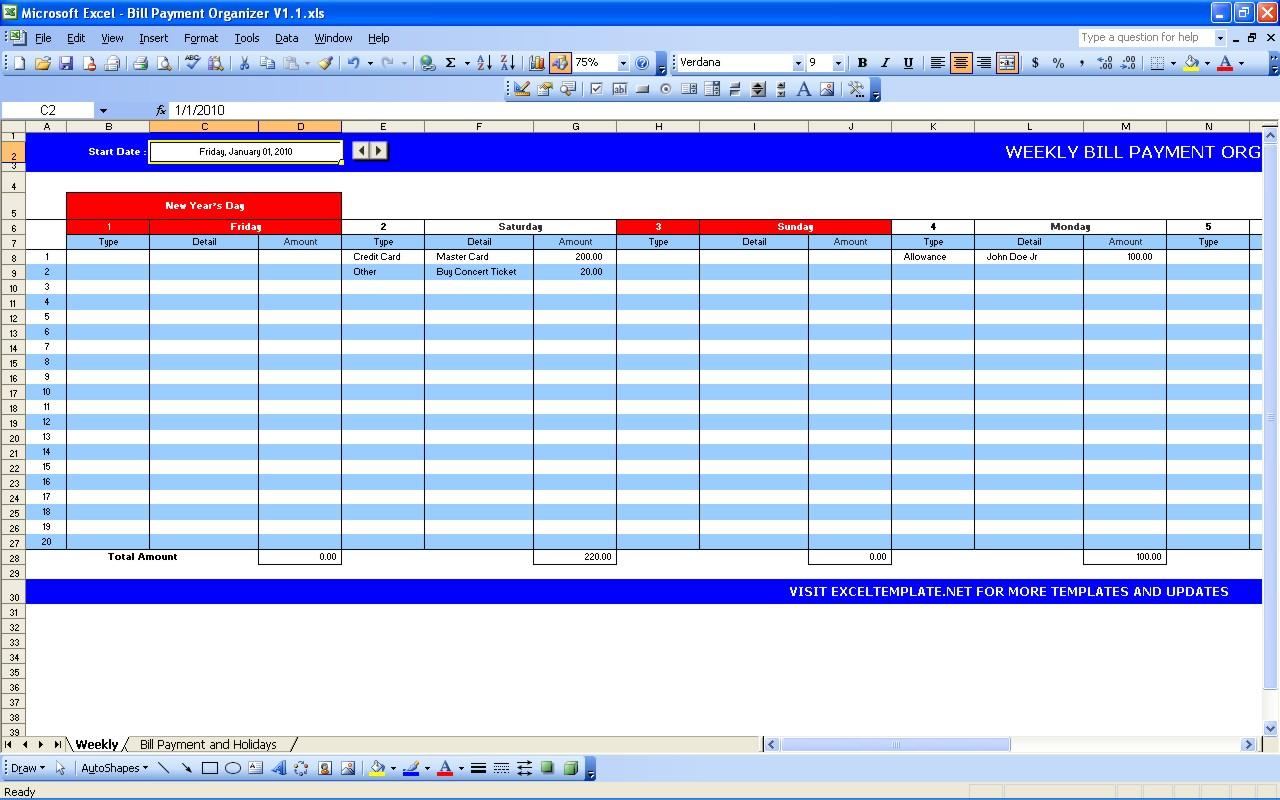 Bill Payment Calendar | Excel Templates