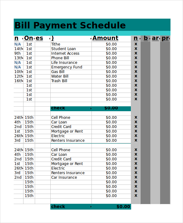 Bill Payment Schedule Template Excel Printable Schedule Template