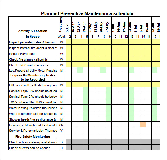 Preventative Maintenance Spreadsheet | onlyagame