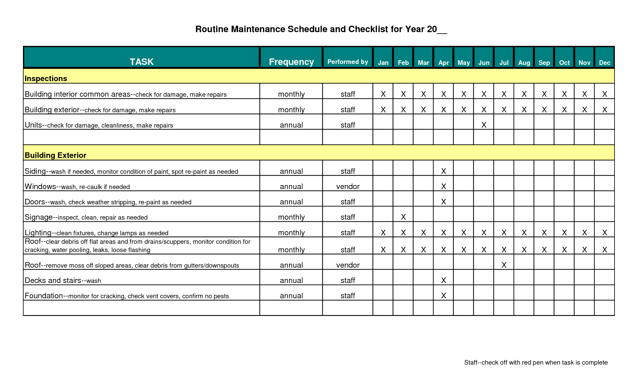 Building maintenance schedule excel template infinite photoshots