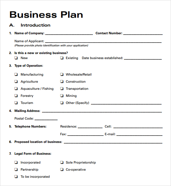 Business Plan Templates Free | Business form templates