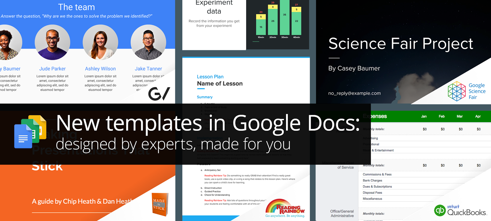 New professionally designed templates for Docs, Sheets, & Slides