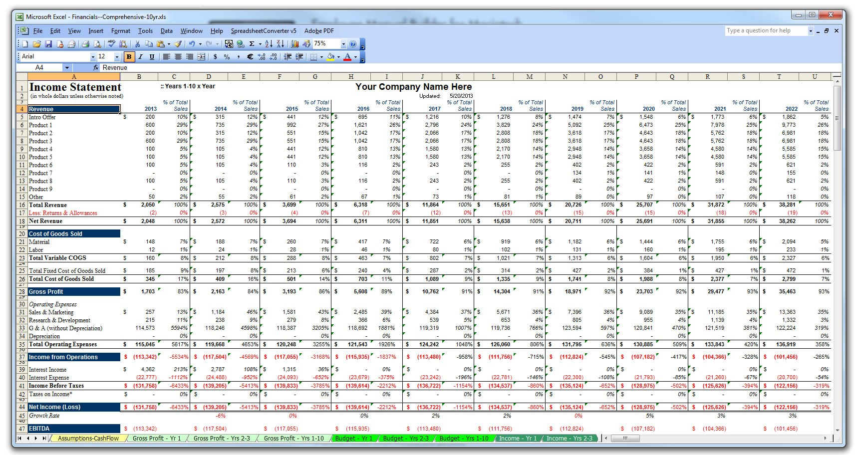 Business Planning & Financial Statements Template Gallery
