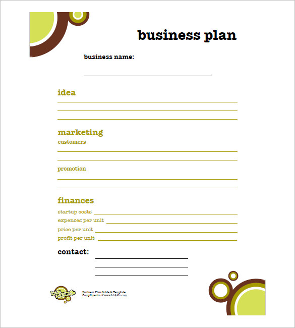 free business plan template pdf one page business plan template 4