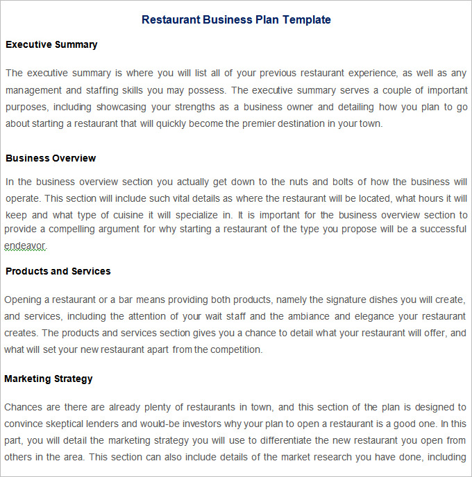 business overview template restaurant business plan template free