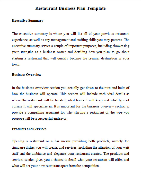 Restaurant Business Plan Template Resume Template. 9 Business Plan