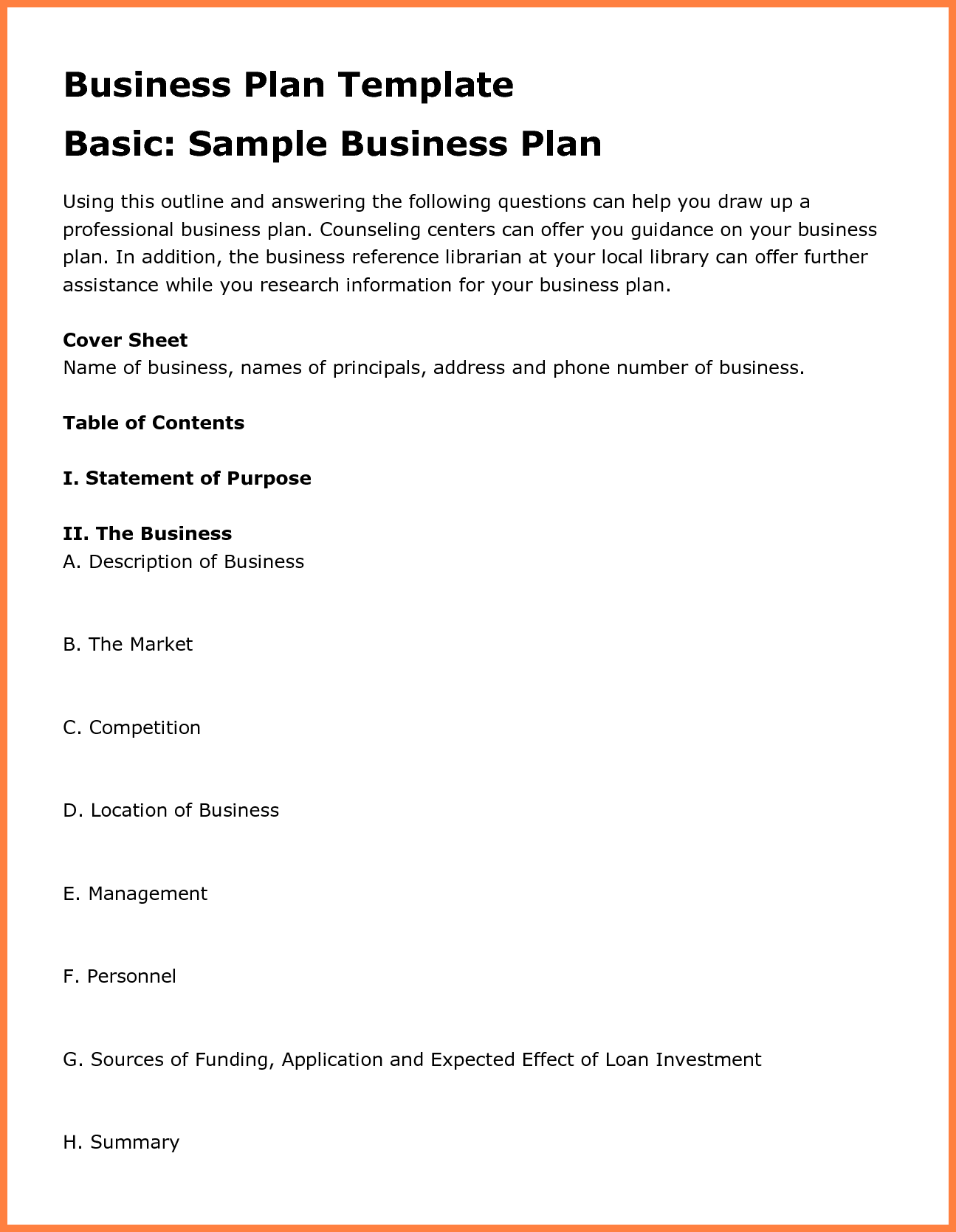 12+ examples business plan outline   Bussines Proposal 2017
