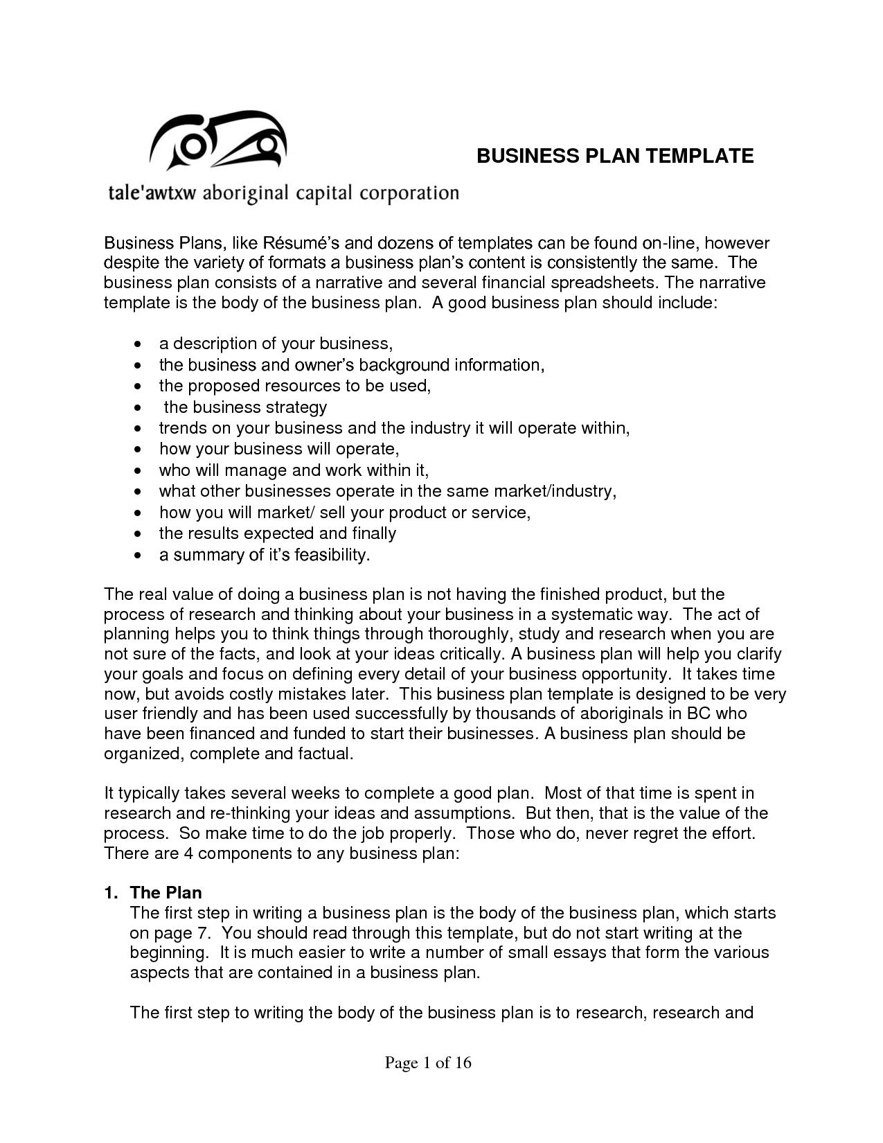 Writing A Small Business Plan Template | Komunstudio