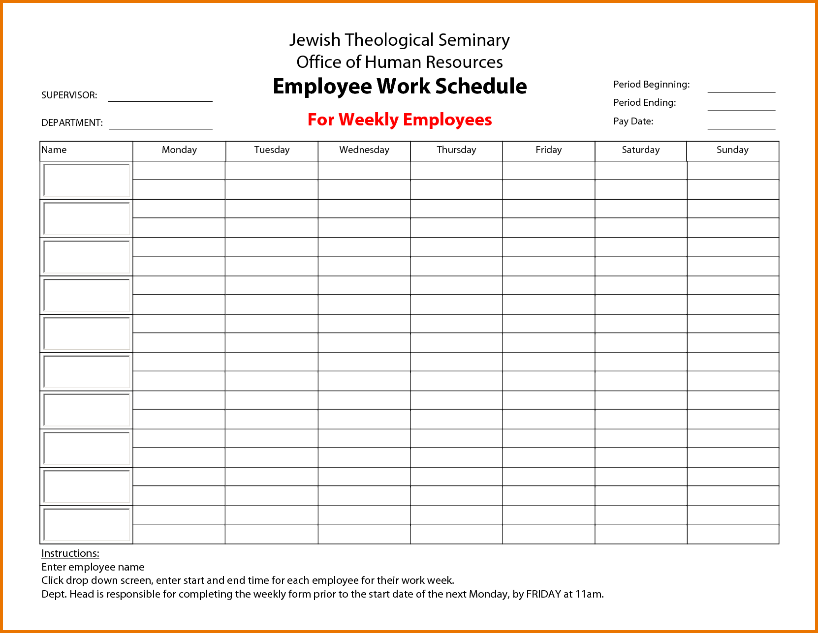 calendar employee schedule template  u2013 printable schedule