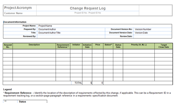 Change Log Template Excel | printable schedule template