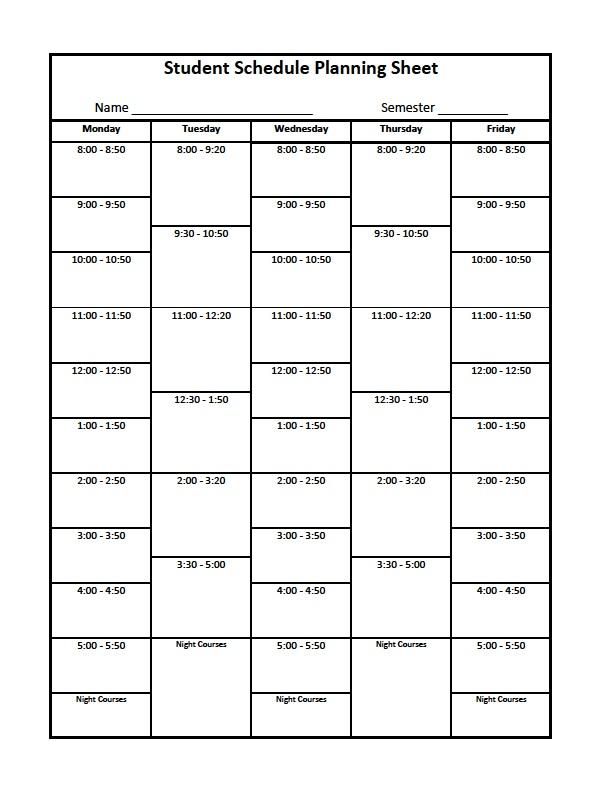 Class Schedule Template College