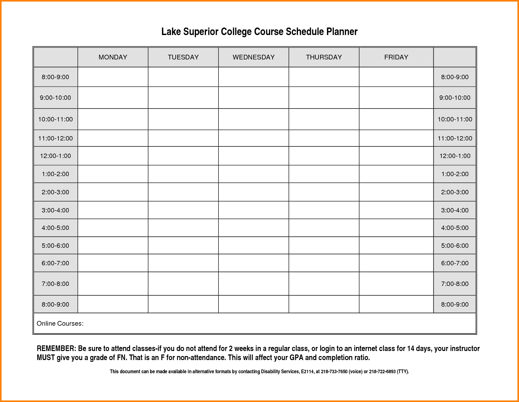 class routine format - Class Schedule Template College