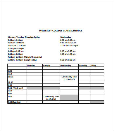 College Class Schedule Template 6+ Free PDF Documents Download