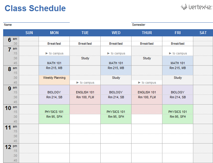 Weekly Class Schedule Template for Excel
