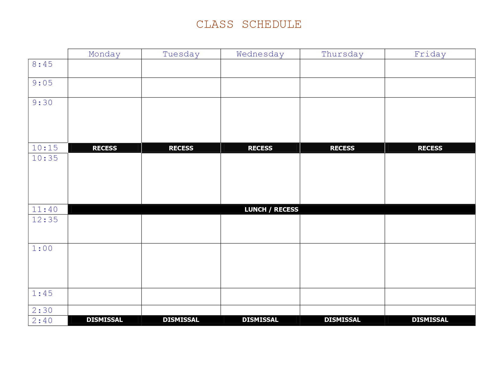class schedule template online  u2013 printable schedule template