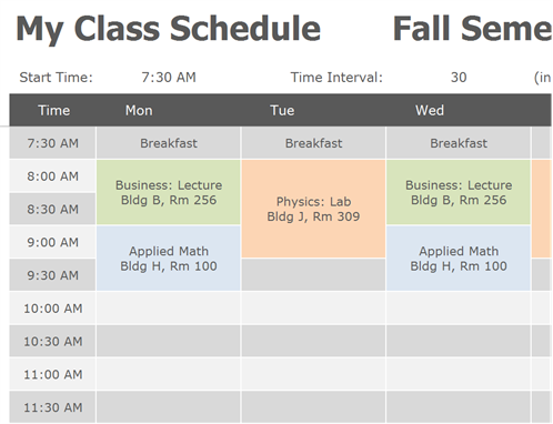 Online Weekly Class Scheduling TemplateI Used the Free College