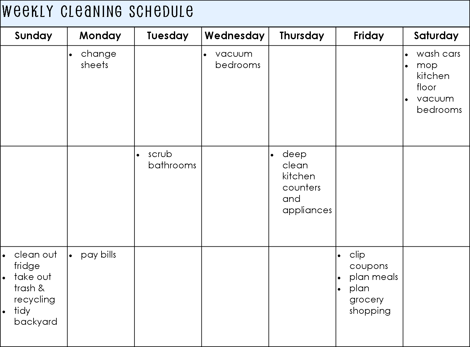 Weekly Based Cleaning Schedule Template For Personal : V m d.com