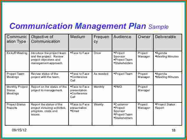 Project Team Communication Plan Template Planning Engineer