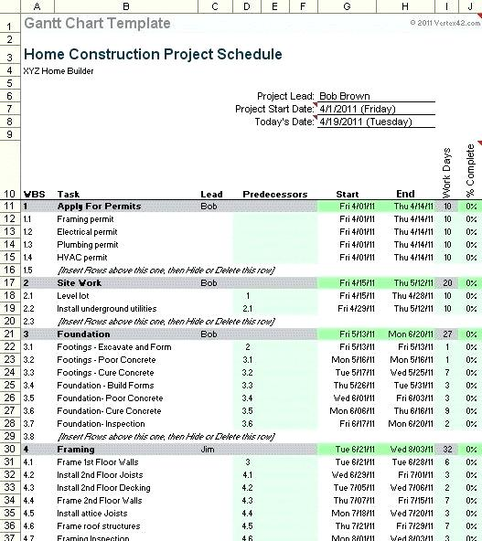 Construction Schedule Template Excel Free Download Construction