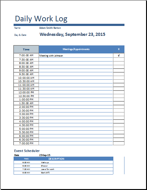 8+ Daily work log templates Word Excel PDF Formats