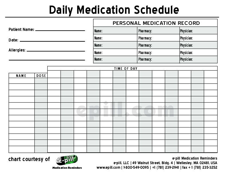 Free DAILY Medication Schedule / Free DAILY Medication Chart (to