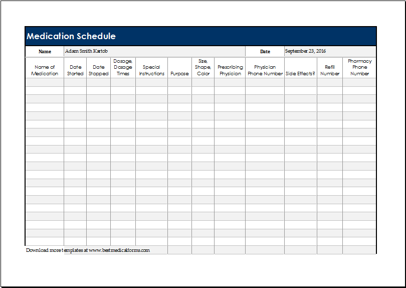 Medication Schedule Template 14+ Free Word, Excel, PDF, Format