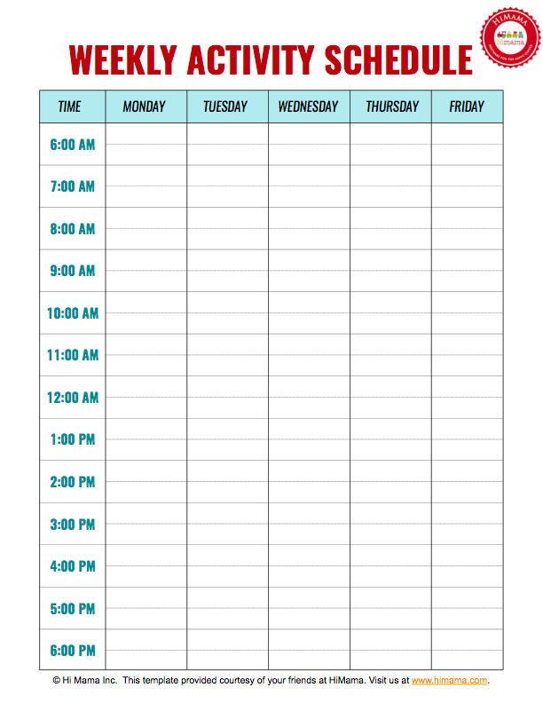 Daycare Weekly Schedule Template 5 day | Daycare Daily Schedule