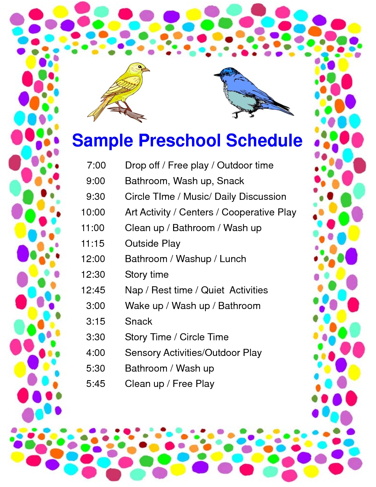 Schedule Preschool Sample PDF | Teaching Groups of Children