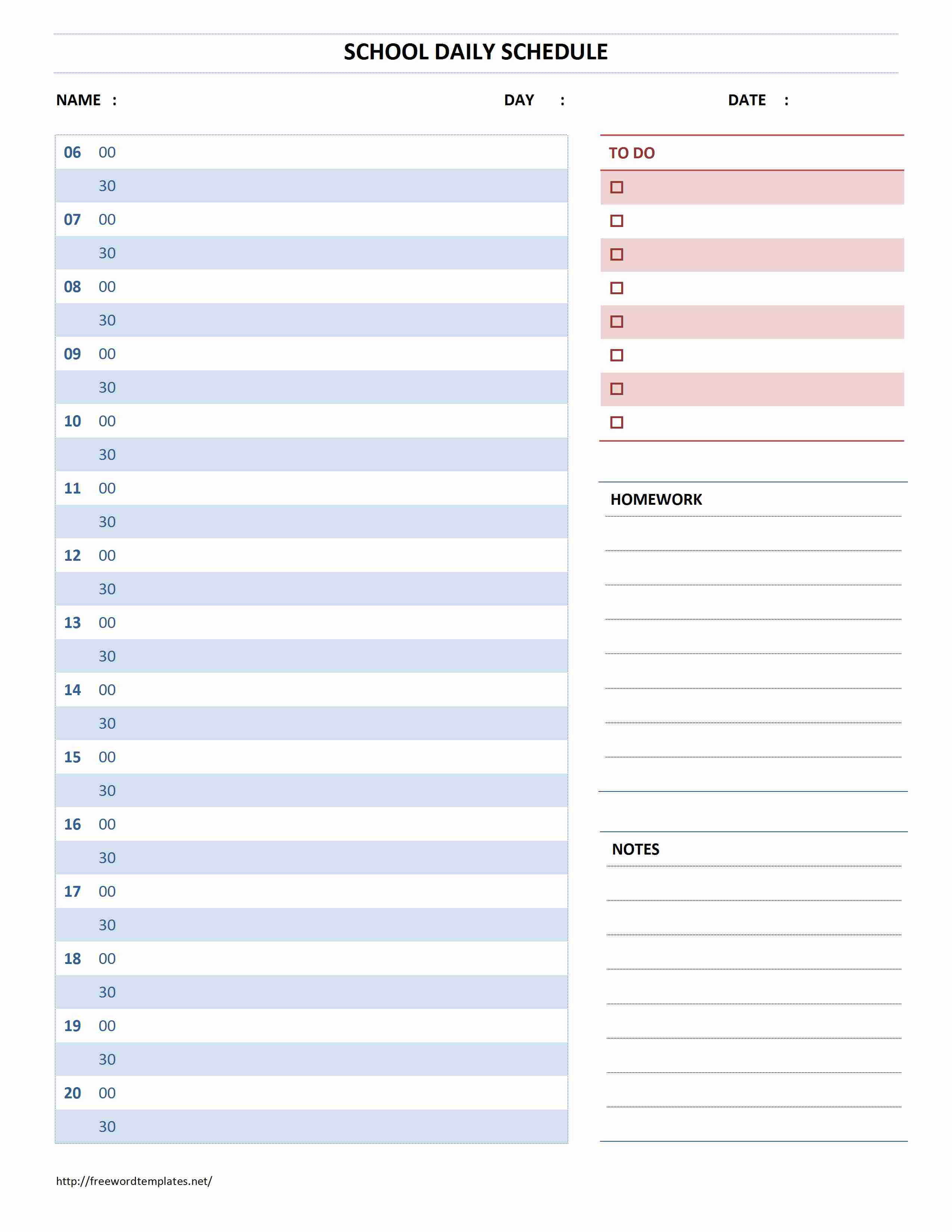 Printable Microsoft Word Daily Hourly Planner Template | Ready