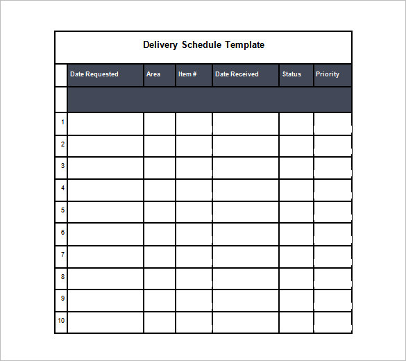 Delivery Schedule Template Word