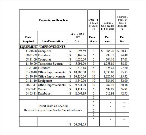 depreciation worksheet template excel depreciation template bugis