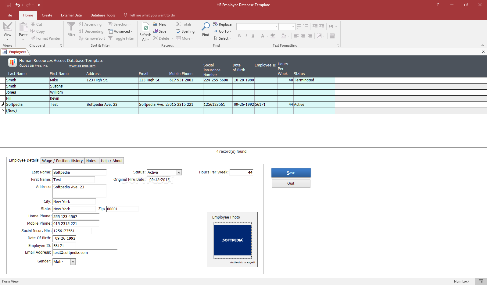 Download HR Employee Database Template 1.1.0