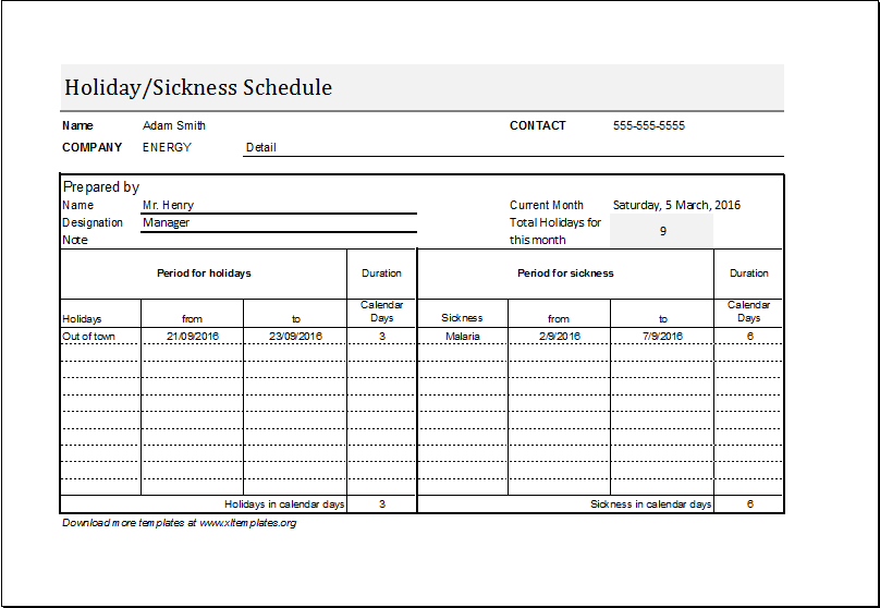 Employee Holiday/Sickness Schedule Template | Excel Templates