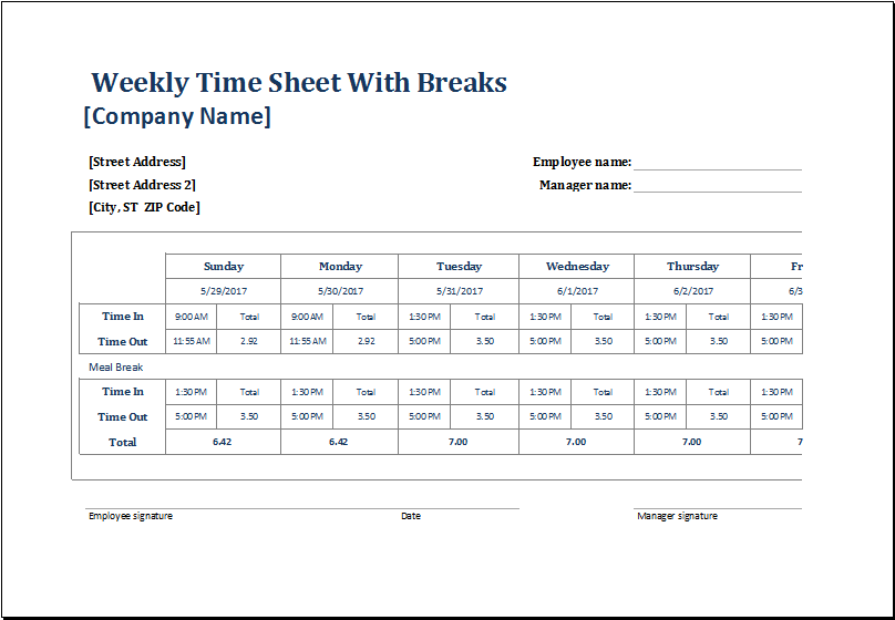 Employee Weekly Time Sheets with and without Breaks | Excel Templates
