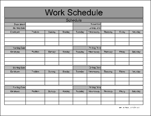 5+ monthly employee schedule template | CV Template