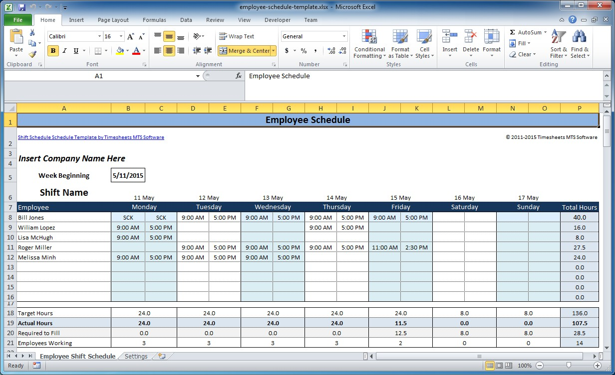 Employee Shift Schedule Schedules Templates