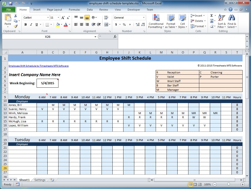 Work Schedule Templates for Word and Excel