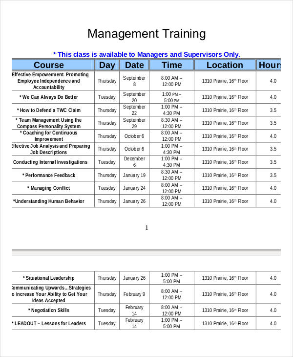 Employee Training Schedule Template Excel - printable ...
